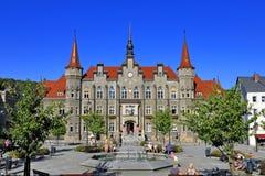 """Polen †""""lägre Silesia byggnad för stadshus för —Walbrzych †""""historisk Royaltyfri Foto"""