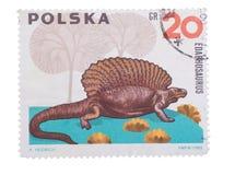 POLEN - CIRCA 1965: Een zegel in het tonen van Edaphosau wordt gedrukt die royalty-vrije stock afbeeldingen