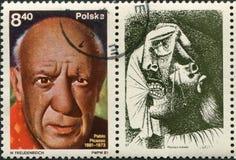 Polen - circa 1981: en stämpel Polen circa 1981, hängivet till Pablos Picasso födelsehundraårsdagen, circa 1981 arkivbild