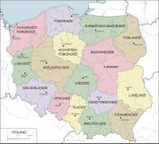Polen - contourkaart met voivodeships en rivieren vector illustratie