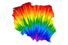 Polen - de kaart is ontworpen regenboog abstract kleurrijk patroon royalty-vrije illustratie