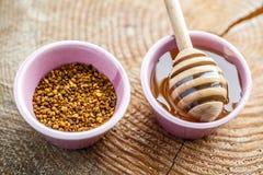 Polen de la miel y miel con el palillo de madera Imagen de archivo libre de regalías