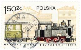 POLEN - de postzegel van CIRCA 1978 A in Polen wordt gedrukt toont de oude Poolse trein vanaf 1907, circa 1978 die Stock Foto's