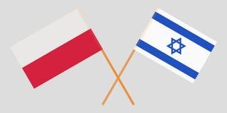 Polen en Israël Gekruiste Poolse en Israëlische vlaggen Officiële kleuren Correct aandeel Vector stock illustratie