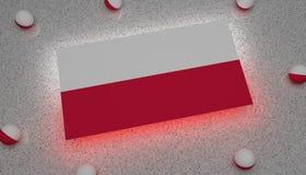 Polen flagga som är röd med Europa royaltyfri illustrationer