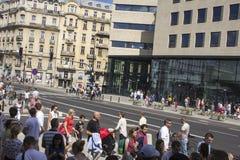Polen folk på ståta på Warszawa Royaltyfria Bilder