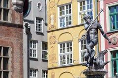 Polen-- Gdansk-Stadt (kennen Sie auch NAS Danzig), in der Pomerania Region Berühmter Neptun-Brunnen an Quadrat Dlugi Targ Lizenzfreie Stockfotos