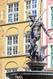 Polen-- Gdansk-Stadt (kennen Sie auch NAS Danzig), in der Pomerania Region Berühmter Neptun-Brunnen an Quadrat Dlugi Targ Lizenzfreies Stockfoto
