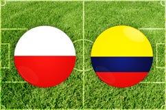 Polen gegen Kolumbien-Fußballspiel Stockbild