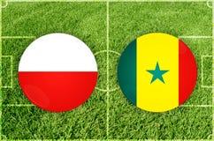 Polen gegen Senegal-Fußballspiel Lizenzfreie Stockfotos