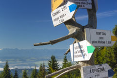 Polen Gorce berg, vägvisare på det Turbacz maximumet Royaltyfri Bild