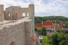 Polen, Kazimierz Dolny, de ruïnes van het kasteel Stock Foto