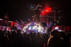 POLEN, KRAKAU - JANUARI 01, 2015: Het vieren van het Nieuwjaar 2015 Stock Afbeeldingen