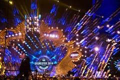 POLEN, KRAKAU - JANUARI 01, 2015: Het vieren van het Nieuwjaar 2015 Stock Foto