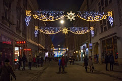 POLEN KRAKOW - DECEMBER 31, 2014: Fira det nya året 2015 Arkivbild