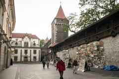 Polen krakow 08 05 2015 lokala personer under dagligt liv av berömda byggnader och monument Arkivfoton