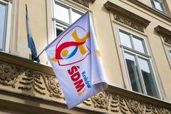 POLEN KRAKOW - MAJ 27, 2016: Flagga av världsungdomdagen 2016 Royaltyfri Bild