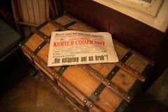 POLEN KRAKOW - MAJ 27, 2016: Utställning på temat av livKrakow judar Arkivfoto