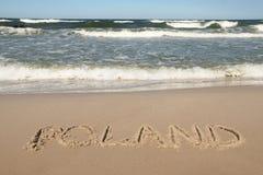 Polen - Ländername gezeichnet auf einen Strand Lizenzfreie Stockbilder