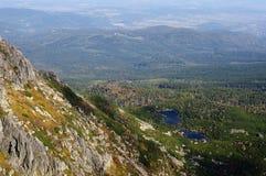 Polen landskap av Karkonosze berg arkivbild
