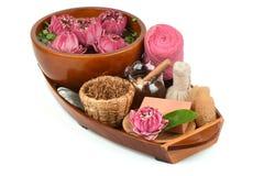 Polen Lotus, Lotus Flower y jabón, flor hecha a mano del balneario de los jabones de Tailandia imágenes de archivo libres de regalías