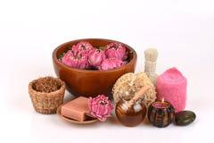 Polen Lotus, Lotus Flower y jabón, flor hecha a mano del balneario de los jabones de Tailandia Fotografía de archivo libre de regalías