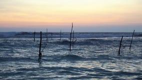 Polen ohne Stelzen-Fischer bei Sonnenuntergang in Sri Lanka stock video footage