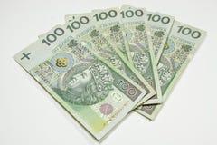 Polen PLN valuta 100 Arkivfoto