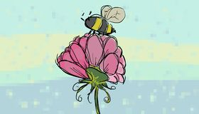 Polen que sorbe de la abeja de una flor stock de ilustración