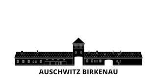 Polen, reeks van de de reishorizon van Auschwitz Birkenau de vlakke Polen, zwarte de stads vectorillustratie van Auschwitz Birken stock illustratie