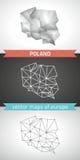 Polen-Satz Grau und polygonale Karten des Silbermosaiks 3d Stockbilder