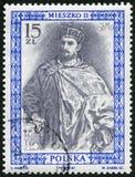 POLEN - 1987: showMieszko II Lambert (990-1034) konung av Polen, serie royalty Royaltyfria Bilder