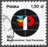 POLEN - 1978: Shows angemessenes Emblem, gewidmetes 50. internationales Posen angemessen Lizenzfreie Stockbilder