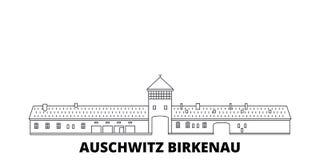 Polen, van de de lijnreis van Auschwitz Birkenau de horizonreeks Polen, van de het overzichtsstad van Auschwitz Birkenau de vecto vector illustratie