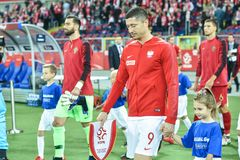Polen versus het 2:3 van Portugal In het beeld kapitein Robert Lewandowski royalty-vrije stock foto