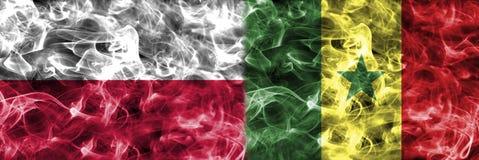 Polen vs Senegal rökflagga, gruppH, fotbollvärldscup 2018, Arkivfoto