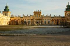 Polen-Warschau, im Dezember 2015 Ansicht des Hofes und des königlichen Lizenzfreie Stockfotografie