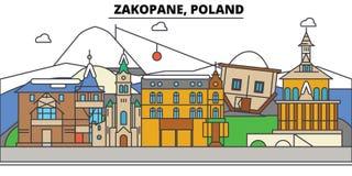 Polen, Zakopane Stadshorizon, architectuur, gebouwen, straten, silhouet, landschap, panorama, oriëntatiepunten editable royalty-vrije illustratie