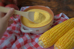 Polenta. Corn and corn meal in the kitchen Stock Photo