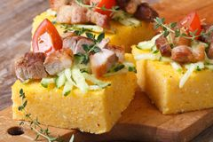 Polenta with bacon, vegetables and thyme on wooden board Stock Photo