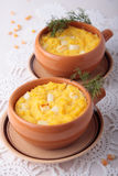 Polenta baked with chunks of cheese Royalty Free Stock Images