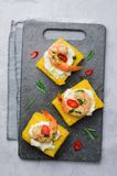 Polenta Bites with Shrimp and Cream Cheese, Polenta Appetizer, Delicious Snack stock photos