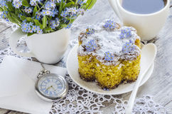 Polenta cake with cup of Coffee. Royalty Free Stock Photography