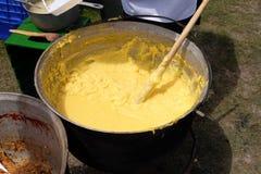 Polenta in caldron traditional recipe. Polenta in caldron traditional eastern Europe recipe stock photos