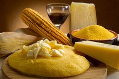 Polenta and  cheese Stock Image