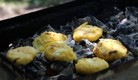 Polenta with cheese on grill Royalty Free Stock Photography