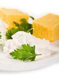 Polenta and cheese Royalty Free Stock Photos