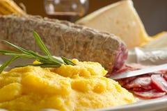 Polenta com salami fotos de stock royalty free