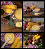 Polenta and corn. Collage with polenta and corn Stock Photos