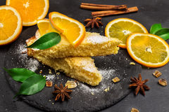 Polenta, corn and lemon butter cake Royalty Free Stock Images